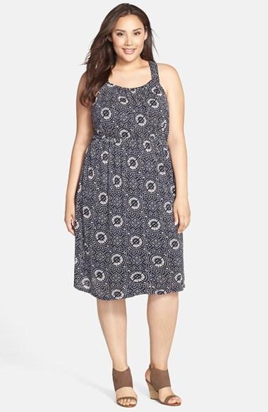 Lucky Brand 'Batik Dot Mosaic' Knit Sundress (Plus Size) by Lucky Brand