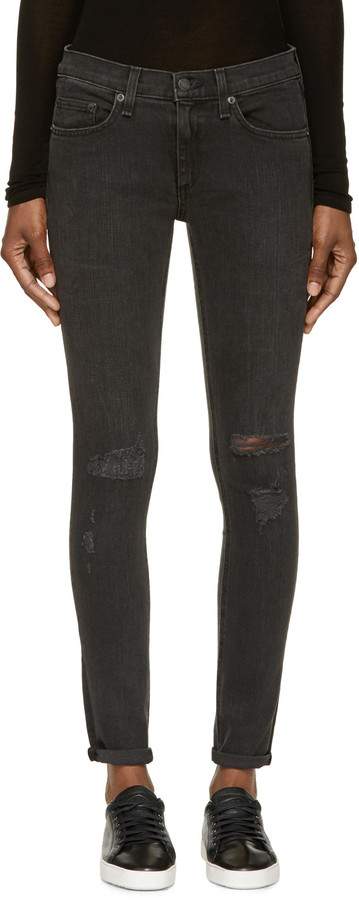 Rag & Bone Black Destroyed The Skinny Jeans by Rag and Bone