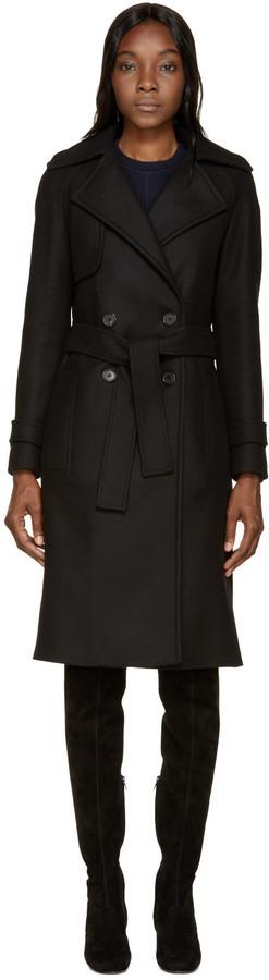 Proenza Schouler Black Double-Breasted Long Coat by Proenza Schouler