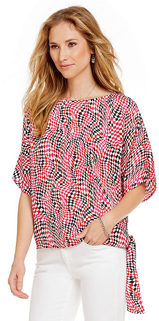 MICHAEL Michael Kors Bullard Check Print Side Tie Top by MICHAEL Michael Kors