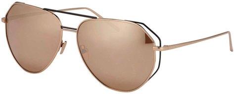 Linda Farrow Double-Rim Angled Aviator Sunglasses, Rose-Tone by Linda Farrow
