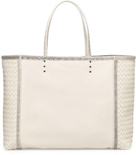 Bottega Veneta Large Snake & Napa Tote Bag, Mist White by Bottega Veneta