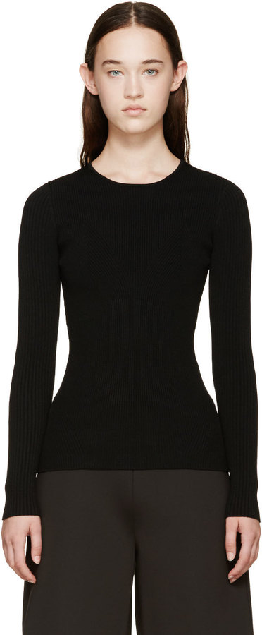 Opening Ceremony Black Ribbed Knit Sweater by Opening Ceremony