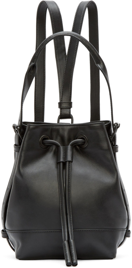 Opening Ceremony Black Leather Mini Izzy Backpack by Opening Ceremony