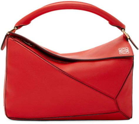 Loewe Red Leather Small Puzzle Bag by Loewe