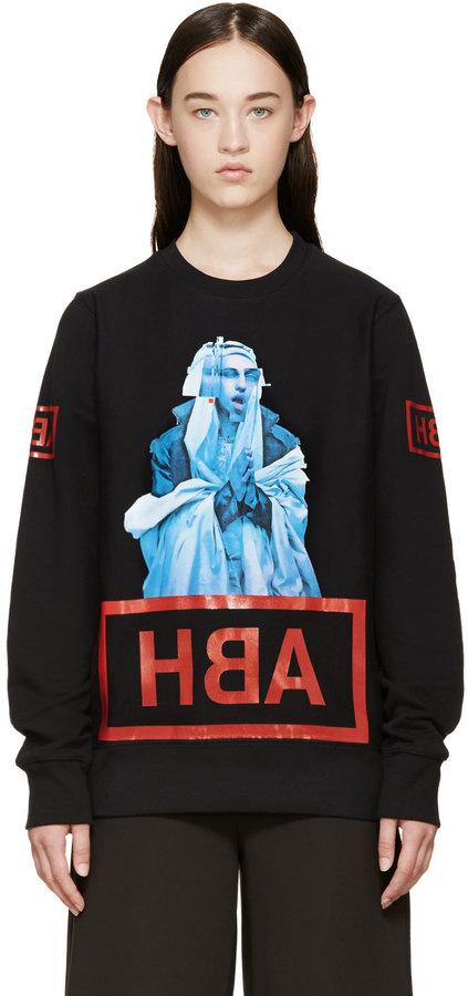 Hood by Air SSENSE Exclusive Black Printed Shame Sweatshirt by Hood by Air